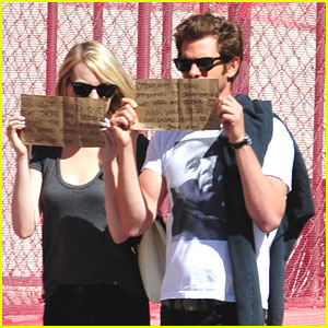Emma Stone & Andrew Garfield Write Handmade Signs to Promote Charities