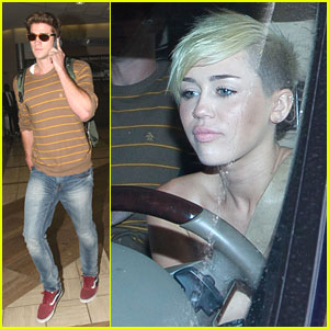 Miley Cyrus Picks Up Liam Hemsworth From LAX