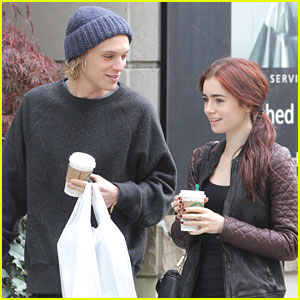 Lily Collins & Jamie Campbell Bower: Saturday Starbucks Stop