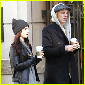Lily Collins & Jamie Campbell Bower: Coffee Couple