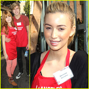 Bella Thorne & Christian Serratos: LA Mission Thanksgiving Dinner