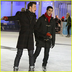 Chris Colfer & Darren Criss: Ice Skating in New York City
