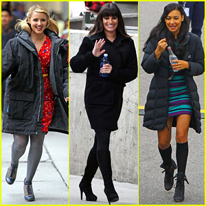Lea Michele & Dianna Agron: 'Glee' Set with Naya Rivera!