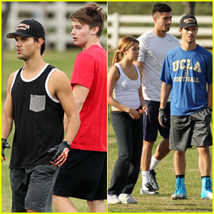 Taylor Lautner: Football Fun with Patrick Schwarzenegger!
