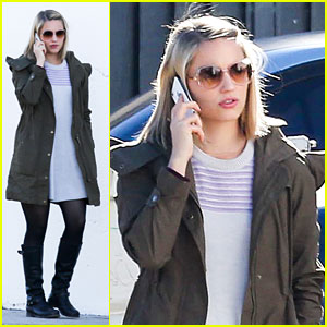 Dianna Agron Takes A Call