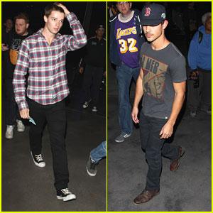Taylor Lautner & Patrick Schwarzenegger: Lakers Game Guys