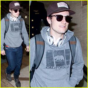 Josh Hutcherson: Post-Super Bowl Arrival