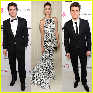 Nina Dobrev: Elton John's Oscar Party with Ian Somerhalder & Paul Wesley