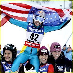Sarah Hendrickson Wins Women's Ski Jumping Title!