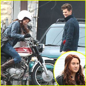 Shailene Woodley: Motorcycle Ride on 'Spider-Man 2' Set