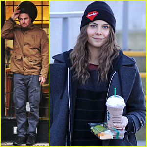 Willa Holland & Stephen Amell: Rainy 'Arrow' Filming