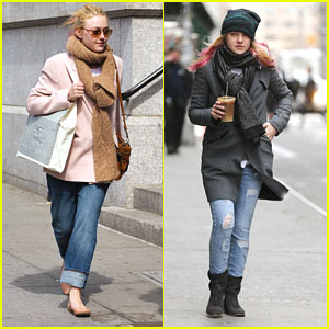Dakota Fanning: Pink Hair Highlights in NYC