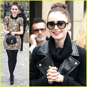 Lily Collins: LV Fashion Show in Paris