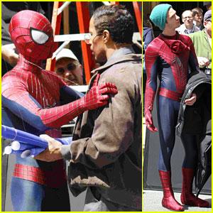Andrew Garfield: 'Spider-Man' Filming With Jamie Foxx