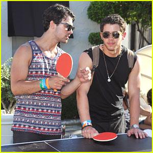 Joe & Nick Jonas: Guess Hotel Pool Party Ping Pong Players