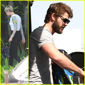 Miley Cyrus Hangs with Google; Liam Hemsworth Works It Out