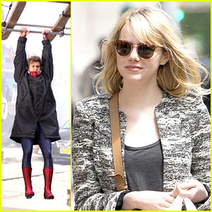 Emma Stone Dishes Beauty Secrets; Andrew Garfield Hangs Out on 'Spider-Man' Set