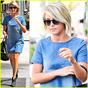 Julianne Hough: Blue Jean Dress for Il Pastaio Lunch
