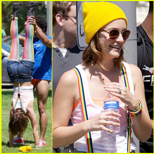 Leighton Meester: Handstand on 'Life Partners' Set!