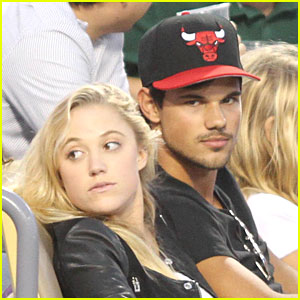 Taylor Lautner & Maika Monroe Hold Hands at Dodgers Game!