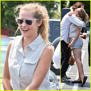 Teresa Palmer Hugs Friend at Fred Segal