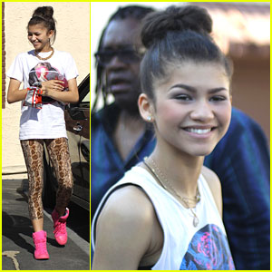 Zendaya: Hot Pink High Tops for 'DWTS' Practice