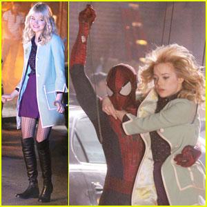 Andrew Garfield & Emma Stone: 'Spider-Man 2' Night Shoot Stunts