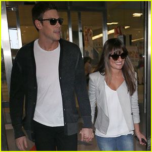 Lea Michele & Cory Monteith Touch Down at JFK