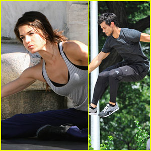 Marie Avgeropoulos: Jump Stunts with Taylor Lautner on 'Tracers'