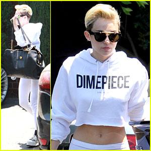 Miley Cyrus: 'Dimepiece' Top at Recording Studio