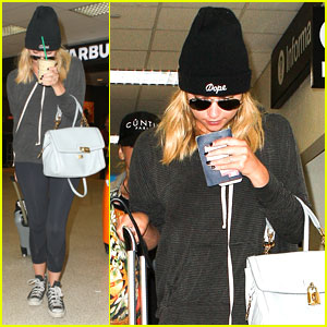 Ashley Benson: Back Home After Rome Trip!