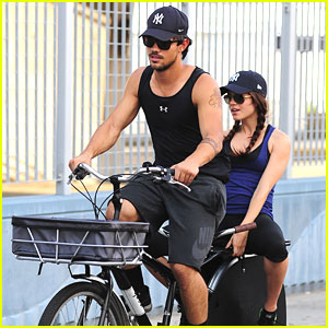Taylor Lautner & Marie Avgeropoulos: Bicycle Built For Two