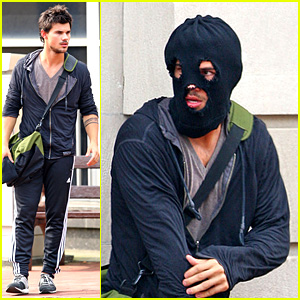 Taylor Lautner: Masked Man for 'Tracers' Robbery Scene!