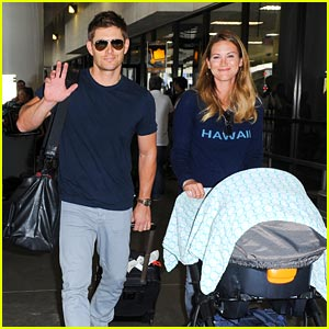Jensen Ackles & Danneel Harris: LAX Arrival with Baby Justice!