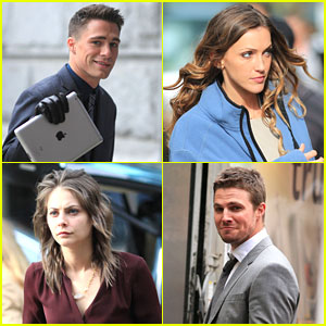 Colton Haynes & Willa Holland: 'Arrow' Set with Katie Cassidy & Stephen Amell