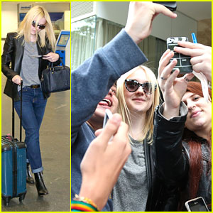 Dakota Fanning: Airport Fan Pics After Rio Film Festival