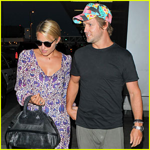 Dianna Agron & Nick Mathers Hold Hands at LAX