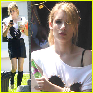 Emma Roberts: Script on 'Coven' Set