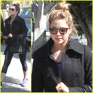 Ashley Benson Keeps Warm Before Gym Time