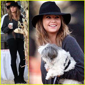 Ashley Benson Takes Her Pup to Mr. Bones Pumpkin Patch!