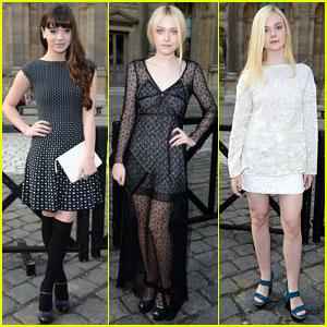Dakota & Elle Fanning: 'Louis Vuitton' Show with Hailee Steinfeld