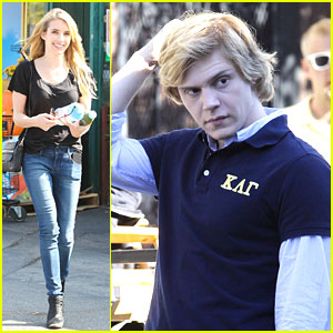 Emma Roberts Runs to Rite Aid; Evan Peters Films 'American Horror Story'