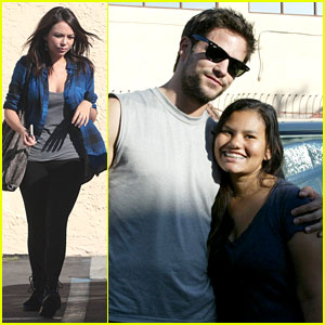 Janel Parrish Visits Brant Daugherty for DWTS Practice