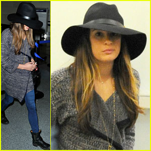 Lea Michele Flies Out of Los Angeles
