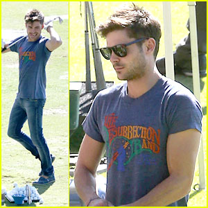 Zac Efron Celebrates Birthday at Driving Range