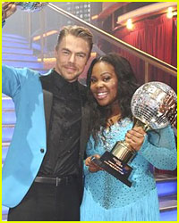 Amber Riley & Derek Hough Celebrate DWTS Win in NYC