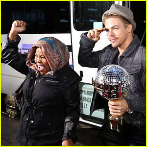 Amber Riley & Derek Hough Celebrate 'DWTS' Win on 'GMA'