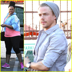 Amber Riley & Derek Hough: Dance Studio Stop Before DWTS Semi-Finals