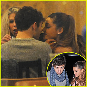 Ariana Grande & Nathan Skyes: Kisses at Manna Restaurant