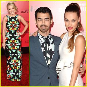 Joe Jonas & Blanda Eggenschwiler: 'Catching Fire' Premiere with Emily Osment!